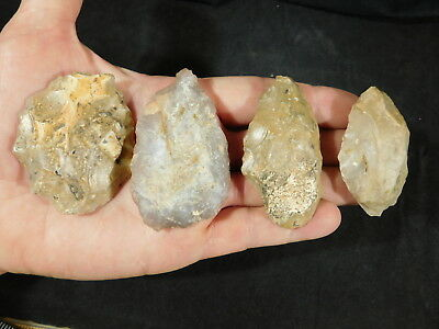 Lot of FOUR! 55,000-12,000 Year Old Early Man Aterian Arifacts Algeria! 147gr