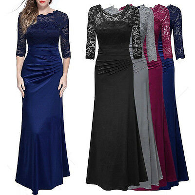 Womens Lace Full Long Maxi Evening Formal Party Ball Gown Cocktail Dress