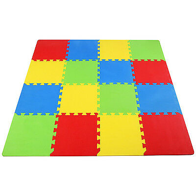 "Foam Floor Play Interlocking Mat Gym Puzzle 16 SQFT 12"" Tiles Baby Kids Floring"
