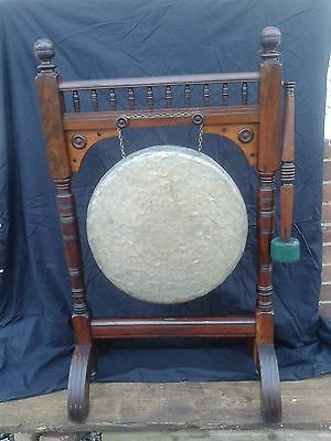Fabulous  Large Antique Victorian Mahogany Floor Standing 46cm Brass Dinner Gong