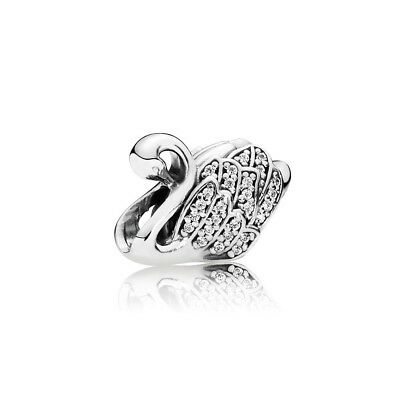 New Authentic Pandora Silver S925 Majestic Swan Charm Clear CZ  #791732CZ
