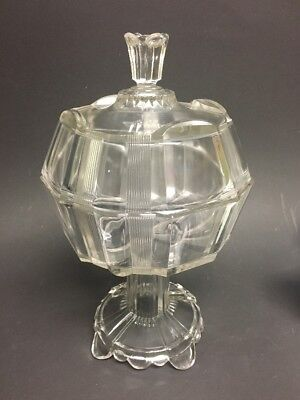Antique Glassware Clear Pedestal Covered Compote/ Candy  Ribbed w/ Finial