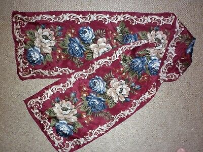 Vintage  Pretty Floral Silk  Long Scarf  Good Condition