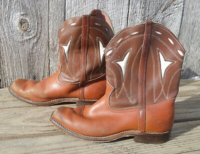 Vintage Brown & White Embroidered Child's Boy's Goodyear Wingfoot Cowboy Boots