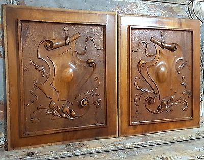 CARVED WOOD PANEL MATCHED PAIR ANTIQUE FRENCH COAT OF ARMS SALVAGED CARVING 19th