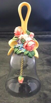 "Vintage Avon Floral Bouquet Crystal Bell 1989  5 1/2 "" Multi-Color Flowers & Bow"