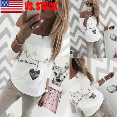 US Women Off Shoulder Spring Loose Tops Long Sleeve Blouse Ladies Casual T-Shirt