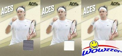 (3) 2007 Ace Authentic Roger Federer MATCH-WORN JERSEYS all Different Colors