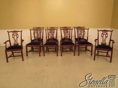 L43471: Set Of 10 HICKORY CHAIR Co. Carved Mahogany Dining Room Chairs