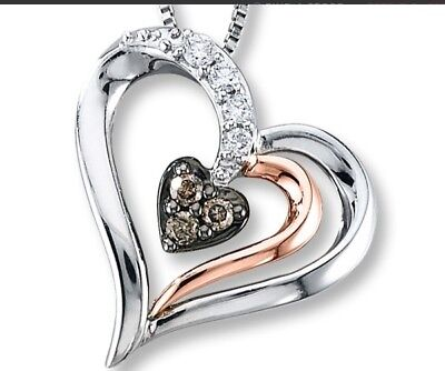 Diamond Heart Necklace 1/8 ct tw Brown/White Sterling Silver