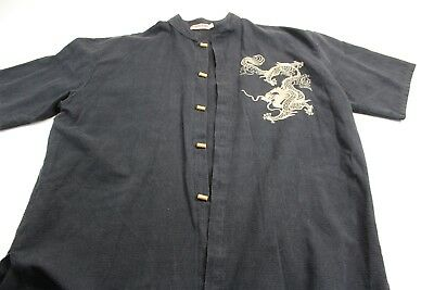 Vipha Unique Buttons Embroidered Dragon Short Sleeve Oriental Shirt L XL