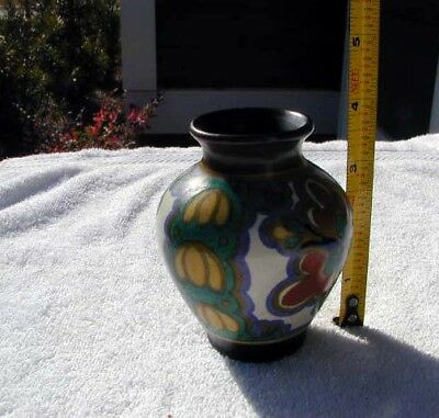 1920's GOUDA from HOLLAND ART POTTERY MINI CABINET VASE FLORAL THEME ESTATE FIND