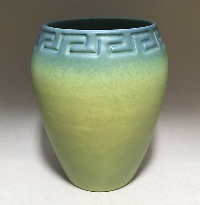 Early Rookwood 1906 Geometric Greek Key Green & Blue Matte Vase Shape #942C