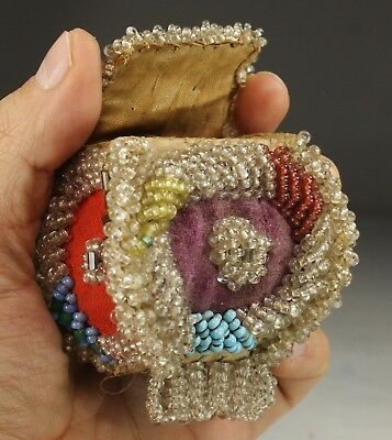 Antique Native American Iroquois Indian Beaded Box Pouch Beadwork 1900's