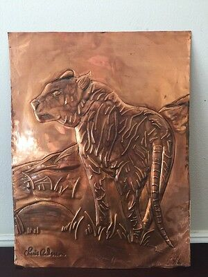 Vintage Tiger Wildlife Etched Copper Foil Sheet Art by Cherie Anderson