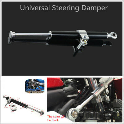 1x Universal 330mm Aluminum Steering Damper Adjustable Stabilizer For Motorcycle