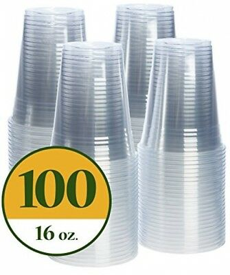 Plastic Cups CRYSTAL CLEAR PET 100 Pack 16 Oz Durable High-quality New