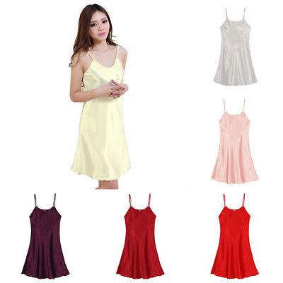 Ladies Faux Silk Satin Babydoll Pajamas Dress Chemises Slip Sleepwear Nightwear