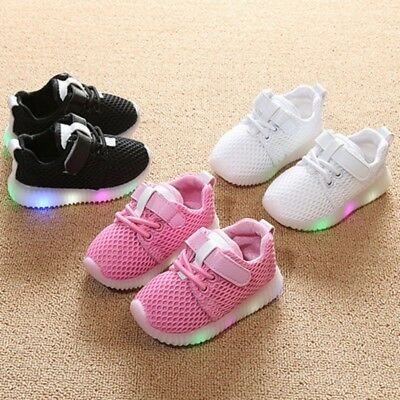 Baby Kid LED Light Mesh Flat Running Sneakers Boy Girl Sports Shoes Breathable