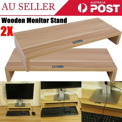 2X 1 Layer LCD LED Wooden Monitor Stand Riser Computer Display Organizer Shelf