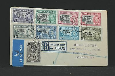 Tristan Da Cunha: 1952 #1-12 Registered Covers to London, Not First Days