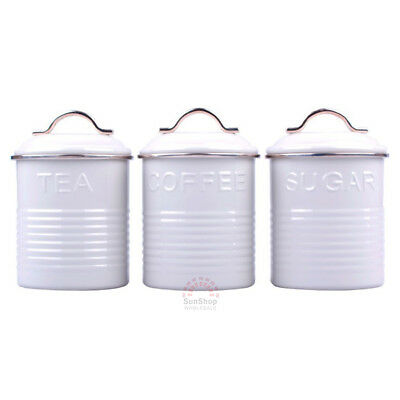 D.LINE Tradition Set of 3 Metal Tea/Coffee/Sugar Canisters Storage Tins 1L White