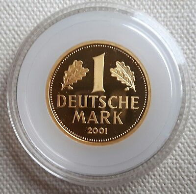 "DEUTSCHLAND: 1 DEUTSCHE MARK 2001 ""A"", ORIGINAL IN GOLD, (Alb03L08), STGL.!"