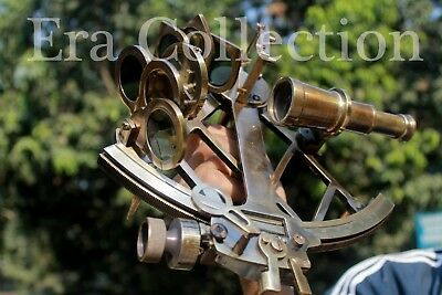 Antique Nautical Solid Brass 9 Inch Sextant Vintage Marine Astrolabe Instrument.