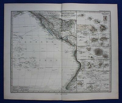 GALAPAGOS, TAHITI, HAWAII, PACIFIC OCEAN, original antique map, Stieler 1880