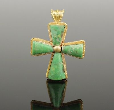 BEAUTIFUL ANCIENT BYZANTINE GOLD & TURQUOISE CROSS CIRCA - 9th Century AD  002