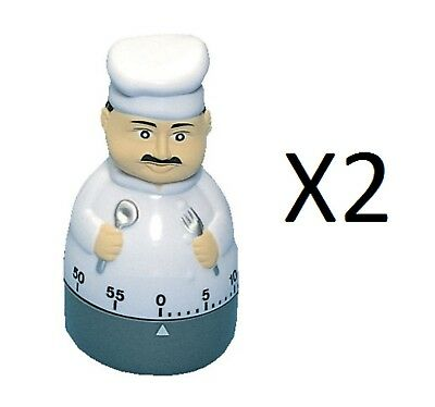 Fox Run Chef Cooking Kitchen Timer 60 Minutes Loud Long Ring/Alarm 4259 (2-Pack)