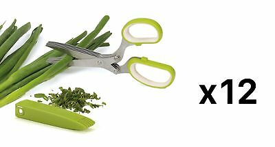 RSVP Herb Scissors - 5 Stainless Steel Blades - Chops Minces Snips (12-Pack)