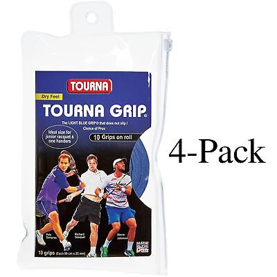 Tourna Tennis Racquet Over Grip 10 Overgrips Absorbent Dry Feel Blue (4-Pack)