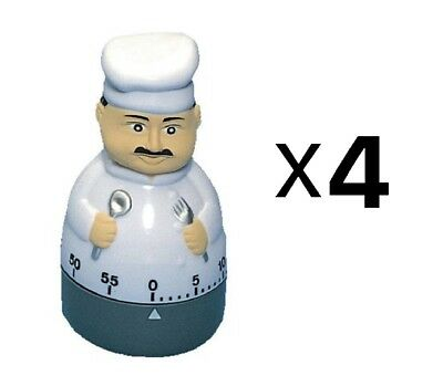 Fox Run Cute Chef Cooking Kitchen Timer 60 Minutes Loud Long Ring/Alarm (4-Pack)