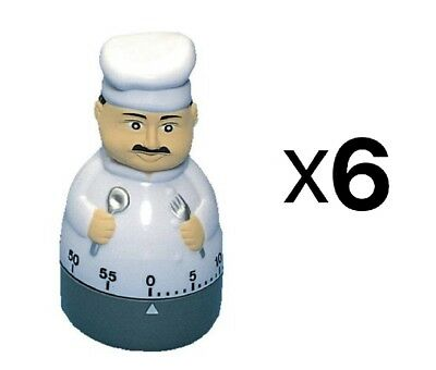 Fox Run Cute Chef Cooking Kitchen Timer 60 Minutes Loud Long Ring/Alarm (6-Pack)