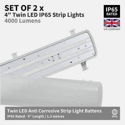 SET OF 2 x 4ft Twin IP65 Non Corrosive Waterproof LED Batten Ceiling Strip Light