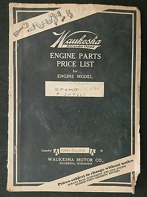 "Pair of Waukesha  Parts List Booklets Model  HL 6"" X 6-1/2"" I R Compresser"