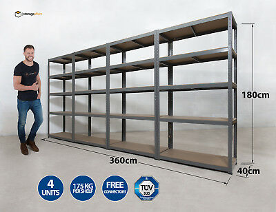 4 x Shelving Units 5 Tier 180x90x40cm Racking Shelf Storage