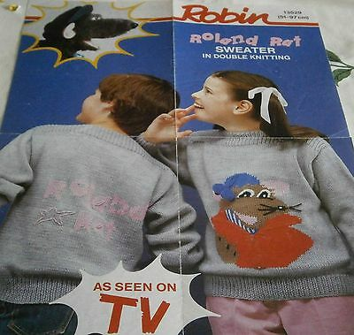 Robin  Sweater knitting pattern ROLAND RAT in DK size 51-97cm   FREE POST TV
