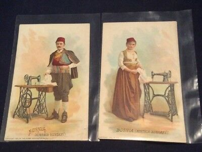 Lot of 2 ANTIQUE 1892 Bosnia The Singer Manufacturing Co. Trade Cards (aE)