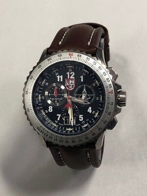 Luminox 9247 Men's F-22 Raptor Chronograph Black Dial Titanium Brown Leather