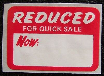 100 Reduced Sale Price Tags Labels Stickers 1 5/8 x 1 1/8