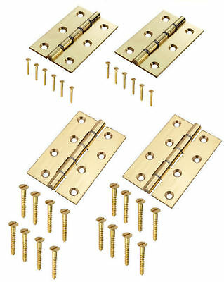 """Polished Brass Door Hinges 3/"""" DSW Washered Butt Hinge 75 x 50mm 5410 Pack of 2"""