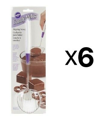Wilton Candy Melts Treats Stainless Steel Chocolate Dipping Scoop Tool (6-Pack)