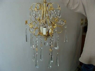 Small Crystal Chandelier Ceiling Light Vintage Powder Room Bedroom Cute