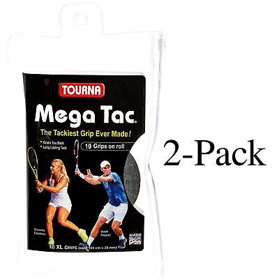 Unique Tourna Mega Tac Racket Tacky Replacement XL Grip - Black 10-Pack (2-Pack)