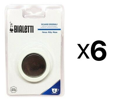 Bialetti Replacement Gasket Filter For 4 Cup Espresso Makers New (6-Pack)