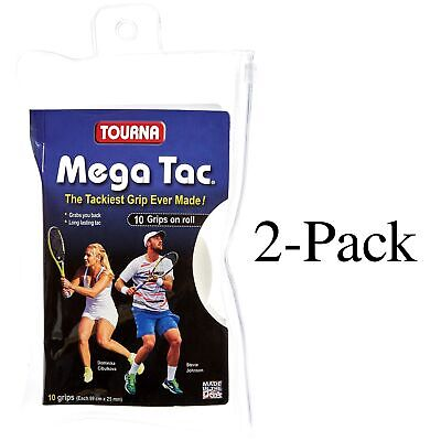 Unique Tourna Mega Tac Racket Tacky Replacement XL Grip - White 10-Pack (2-Pack)