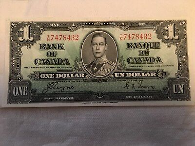 1937 Bank Of Canada 1 Dollar Bill-Uncirculated Condition