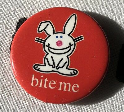 Jim Benton Happy Bunny Bite Me Button Pin 0.9 x 0.9 Inches Wicked Cool
